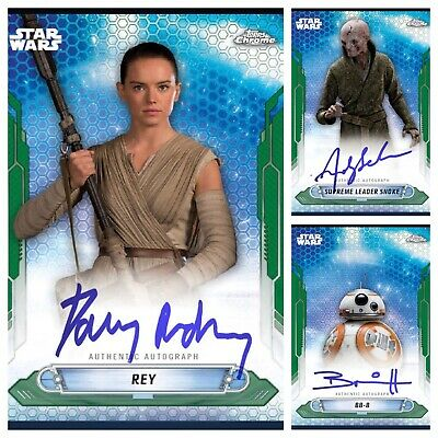 Topps Star Wars Card Trader Chrome Legacy Wave 5 Green Signature Set (3) Digital