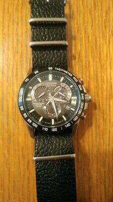 Citizen Eco-Drive Men's A-T Chronograph Black Dial Watch AT4008-51E 2 nice bands