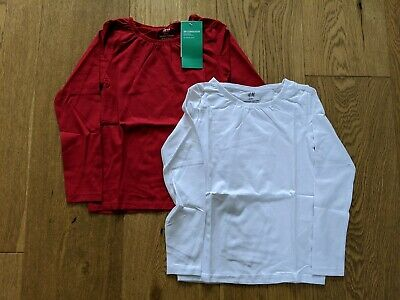 H&M Girls 2-Pack Long Sleeved Tops Red/White Age 4-6 Years New With Tags