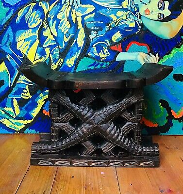 Antique African Carved Engraved Nigeria Stool Chair
