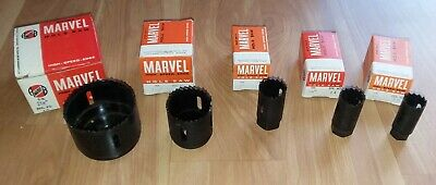 """Lot of 5 Marvel & Milford Hole saw. 2-1/2"""", 1-5/8"""" ,1"""", 7/8"""", 3/4"""" NOS"""