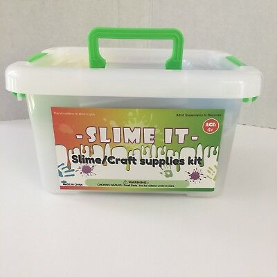 Craft Supplies Kit 77 Pack for DIY Slime Making and Craft in storage case tote