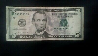 2013-B $5 Dollar Bill Federal Reserve Note Serial#MB19999932D U.S. Currency