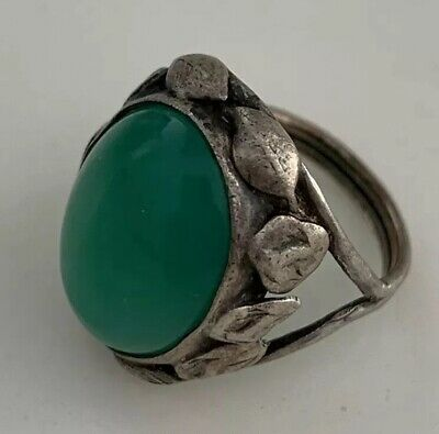 Antique Ring Sterling Silver Green Jade Jadeite Cabochon Size 5 Handcrafted