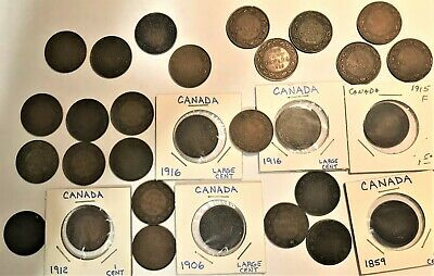 29 CANADA LARGE CENTS! Queen Victoria George mixed lot 1859 - 1920 Copper Penny