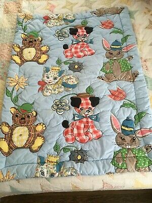 Vintage Baby Quilt Handmade Made, Sewn 33 x 47 Blue
