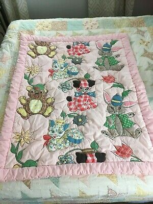 Vintage Baby Quilt Handmade Made, Sewn 40 x 49 Pink