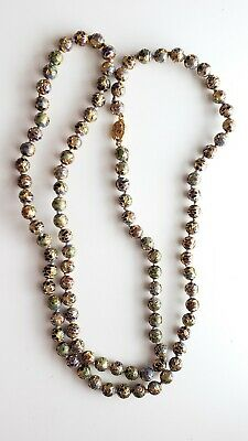 "Chinese Cloisonne 36"" Enamel Gilt Filigree Gold Bead Necklace, Vintage"