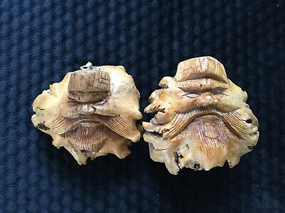 Two Antique European Timber Handcarved Faces
