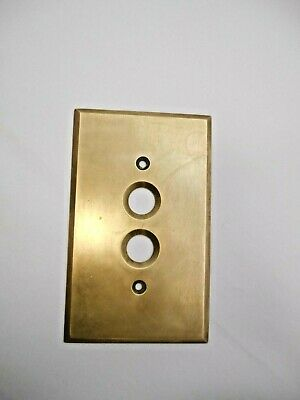 Vtg ARROW Thick Brass Two Hole Push Button Electrical Cover Switch Wall Plate