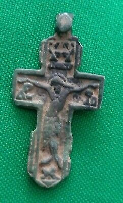 Ancient Artifact Medieval Bronze Cross With Saints