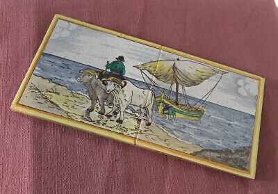 Two Old Hand Painted Tiles Mounted On Board - Dutch?
