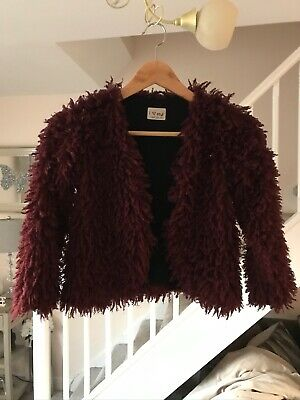 Next Girls Burgundy Fluffy Jacket Age 8 Years