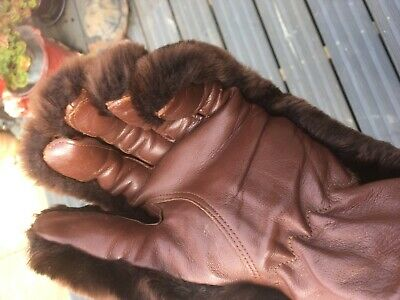 Vintage Gloves 1930 40,50, Fur Or Faux With Leather Palms Dark Brown S/M Vgc