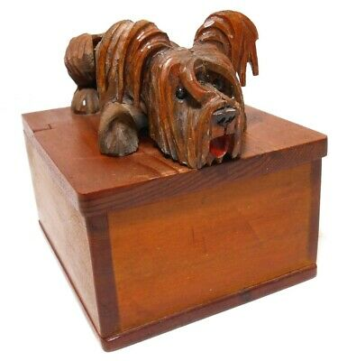Rare Early 20Th C Vint Hand Carved Wood/Wired Lid Cig Box, W/Yorkshire Terrier