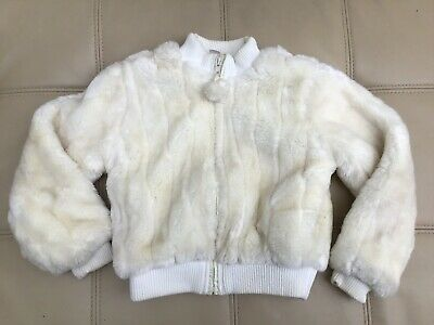 Vintage Adams White Cream Faux Fur Bomber Jacket Girls Age 9