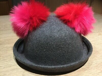 Marks and Spencer Girls grey pure new wool bowler hat with pink pom-poms 6-10yrs