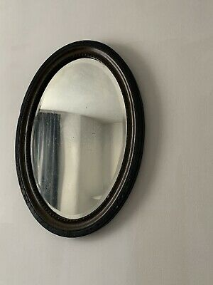 Antique Wooden Carved Wall Distressed Mirror Victorian Oval Vertical 59x44 cm