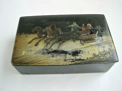 Antique Russian Hand Painted Lacquer Box Winter Troika Scene Horses Sleigh