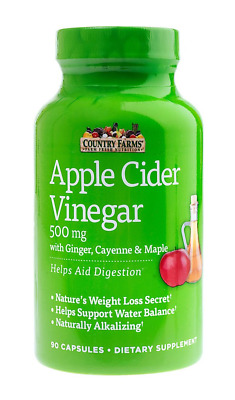 Country Farms Apple Cider Vinegar Capsules, with Ginger, Cayenne and Maple, 90
