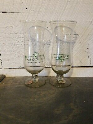 "PAT OBRIEN'S NEW ORLEANS HURRICANE 2ct GLASSES SET VINTAGE MARDI GRAS 6"" Tall"