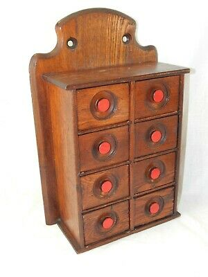 Antique 1800's Primitive Country Oak Wooden 8 Drawer Spice Cabinet / Box