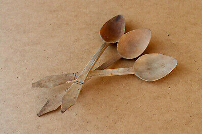 Old Antique Primitive Wooden Wood Spoons Kitchen Paddles Rustic Farm Early 20th