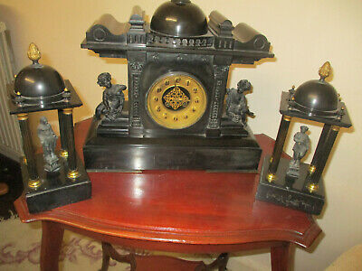 Victorian Black Slate Mantle Clock with Gilded Columns and Figurines/TWIN OBLISK