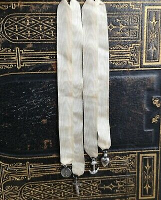 Antique silk and silver bookmark, bible marker, religious charms