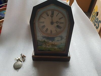 Rare Vintage Swiss Hand Painted Wooden Pendulum Mantel Clock.