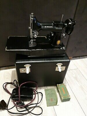 Singer 221k vintage sewing machine with case and accessories - spares or repair