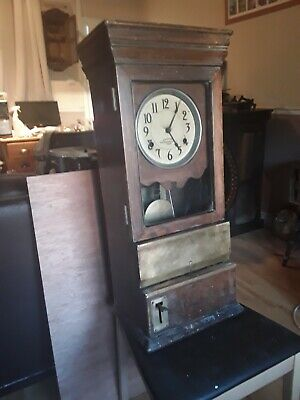 Antique INTERNATIONAL TIME RECORDING Co. Oak Cased Clocking In Machine/Clock