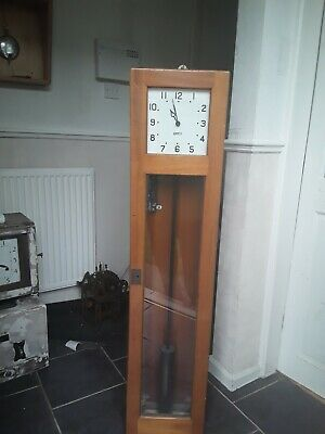 Gents of Leicester master clock wooden case  working  complete with pendulum