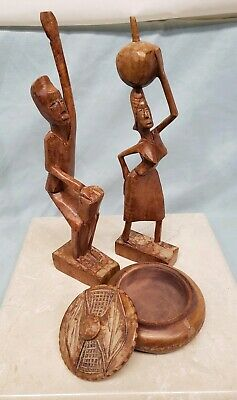 Vintage Haitian Hand-Carved Wood Figurines Folk Art Set - Man Woman Trinket Dish