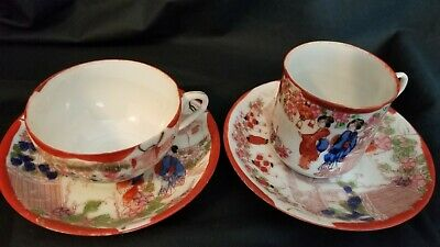 Antique/Vintage Oriental Cups/Saucers, Eggshell Thin,