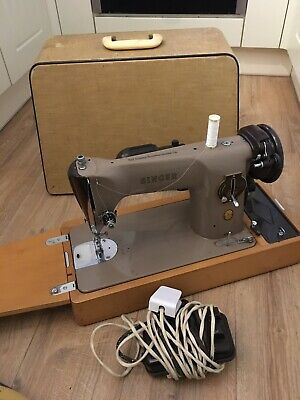 Vintage Singer 201k Electric Sewing Machine complete with accessories Working