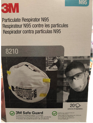 3M N95 8210 Particulate Respirator Mask One Box Of 20 Masks Made in USA exp 2024