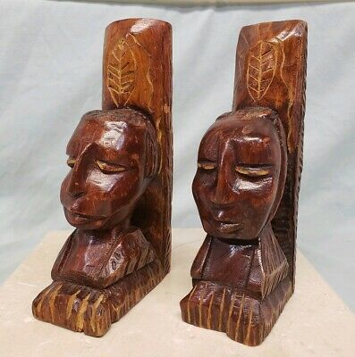 Vintage Haitian Folk Art Hand-Carved Wood Bookends, Indigenous Man Woman, 1960s