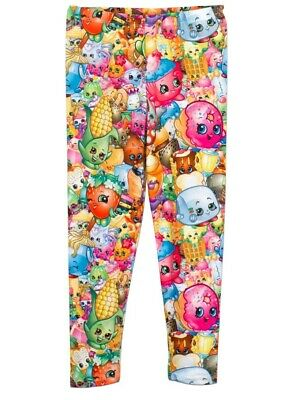 Girls Shopkins Character Multicolour Leggings. Age 7-8 Years New and Tagged