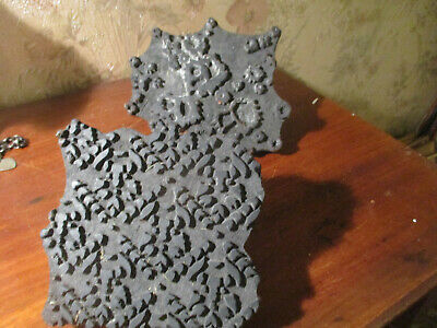 antique Hand Carved oak Fabric Textile / Wallpaper Printing Block Stamps