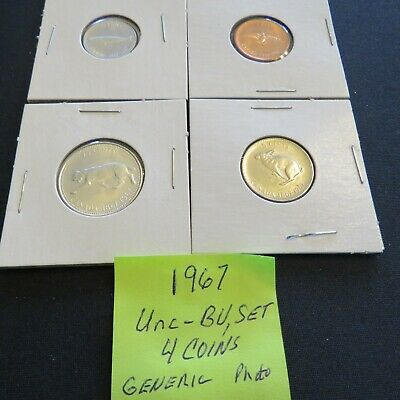 1967 Four Coin Set (67-4C-2) ;  1c, 5c, 10c*, 25c*, *coins are 80% (Ag)
