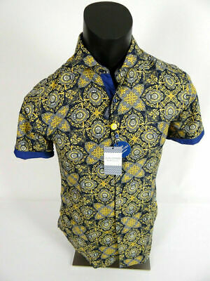 Blue//Brown, Small Suslo Couture Short Sleeve Printed Slim Button Down Shirt