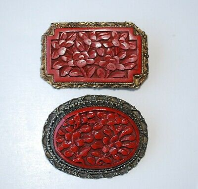 2 ANTIQUE VINTAGE CHINESE EXPORT CARVED LACQUER or CINNABAR PINs