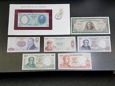 Lot of 7 BANKNOTES OF CHILE -Better Grade- #20D