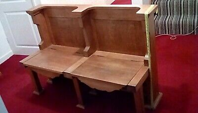 Pew,Two seater solid oak church pew with lifting seats.