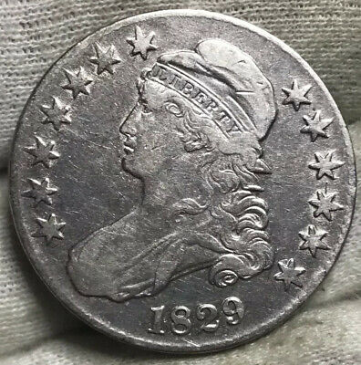 1829 Capped Bust Half Dollar F+/VF Details Cleaned** Great Starter Coin