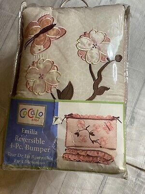 Cocalo Emilia 4 pc  Revesible Baby Bumper Floral Butterfly Pink Purple Shabby