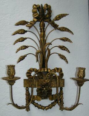 Antique Gold Gilt Wood Carved Florentine Metal Filagree Candleabra Sconce Italy