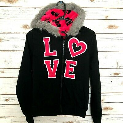 Live To Be Spoiled Hooded Fleece Jacket Black & Pink with Skull Crossbones Small