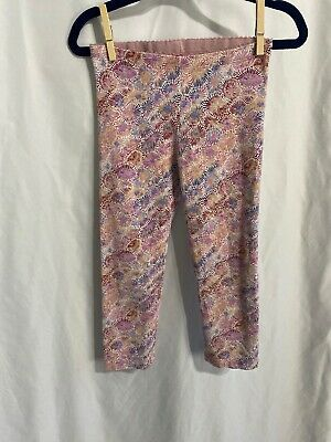 tea collection Girls size 8 Pink Multicolor Floral like Print Crop Leggings